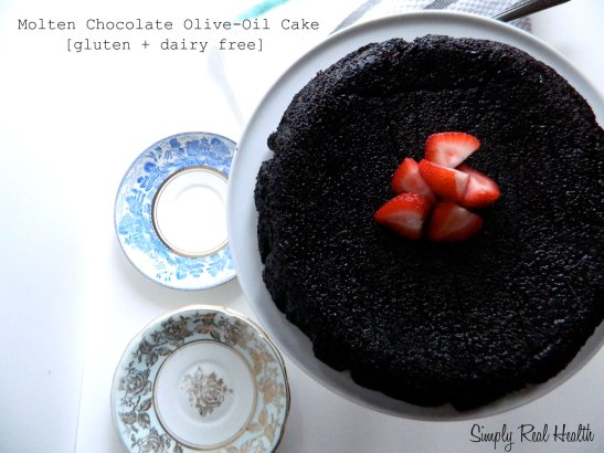 Molten Chocolate Olive-Oil Cake via Simply Real Health