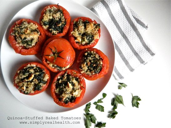 Quinoa Baked Stuffed Tomatoes via Simply Real Health