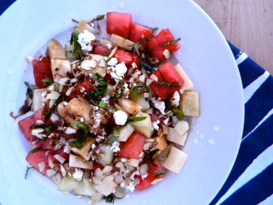 Jicama-Watermelon Salad with fresh mint, feta + balsamic