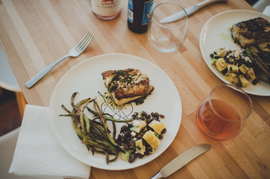 Summer Meal Plan: Pan Fried Halibut with Roasted Green Beans + Sweet Potato + Black Bean Salad via Simply Real Health