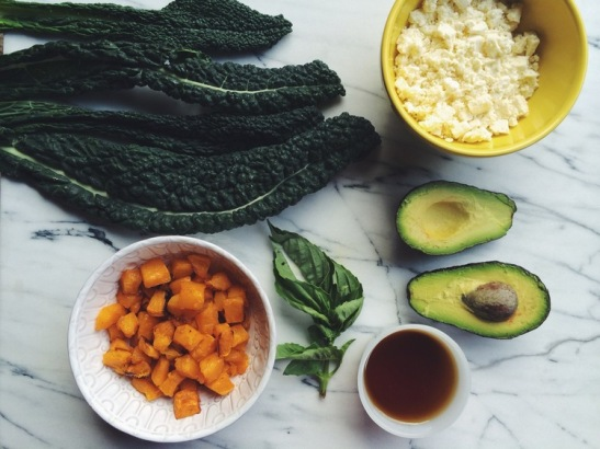 Kale, Avocado, Feta + Roasted Butternut Squash Ingredients. Photo credit: Local Haven